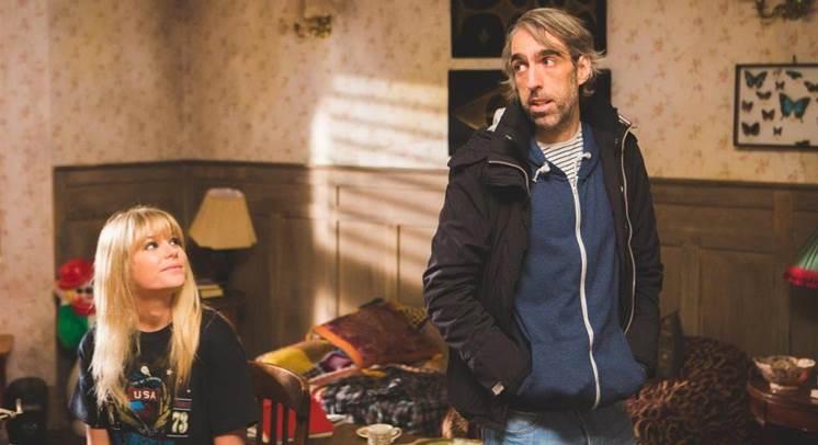 Paul Hyett on the set on PERIPHERAL with Hannah Arterton